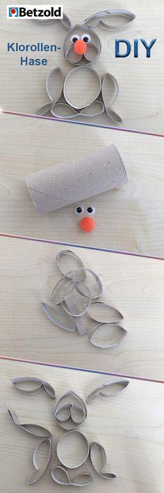 Osterhase aus Klorollen Ihr braucht: 1 leere Klorolle, 2 Kulleraugen, 1 Pomponball als Nase, Schere, Kleber Schritt-für-Schritt-Anleitung: 1. Schneidet acht Mal 1cm dicke Streifen von der Klorolle ab 2. Formt sie anschließend zu Ohren, Füße, Nase,… 3. Klebt sie entsprechend dem Bild zusammen –  Kulleraugen und Pompon-Nase nicht vergessen. Fertig! #kita #kiga #kindergarten #kunst #basteln #malen #DIY https://www.betzold.de/prod/55072/