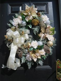 Christmas Front Door Wreath Holiday Wreath by hollyhillwreaths