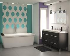 Vibrant colour blocks make this Contemporary style #bathroom eye catching. | Des blocs de couleurs vives pour une salle de bains de style Contemporain. #salledebains #colourblocking