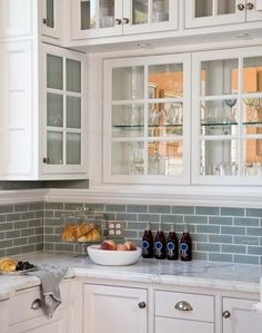 Blue Gray Subway Glass Tile Backsplash. The softer hue with a hint of gray is perfect for brightening any space and is the ideal tile for a kitchen backsplash or bathroom tile. #traditionalkitchens