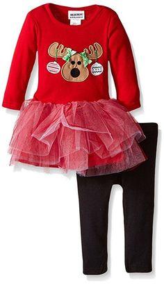NWT Baby Girls BLUEBERI BOULEVARD Red Reindeer Tutu Tunic Legging Set Christmas #BlueberiBoulevard #TwoPieceSetTutuTunicDressLeggingsHoliday #CasualPlaywearEverydayHoliday