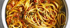 linguine with creamy tomato, rosemary and caper sauce