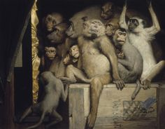 Art & Critique's Curating CooArt Bibliography for further reading list Gabriel Cornelius von Max Monkeys as Judges of Art. Oil on canvas, 85 × Neue Pinakothek, Munich. Gabriel, Primates, Conceptual Painting, Critique D'art, Art Occidental, Art Criticism, Monkey Art, Art Populaire, Jeff Koons