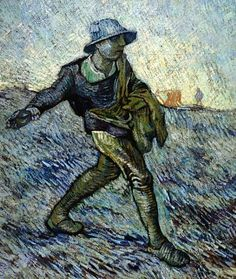 """Vincent Van Gogh - """"De zaaier"""" (after Millet) - 1890 - Kröller-Muller Museum (Netherlands)-  The colors used in this painting are exquisite"""