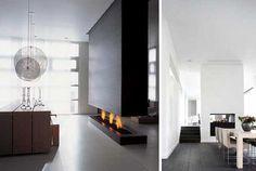 48 chimeneas modernas para la separación de espacios | DECOFILIA.com Linear Fireplace, Home Fireplace, Modern Fireplace, Fireplace Mantels, Design Case, Hearth, Family Room, New Homes, Contemporary