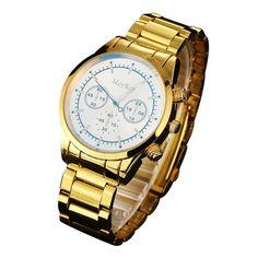 McyKcy Clock Male Fashion Men Watch Full gold Stainless Steel Quartz Watches Wrist Watch Gold Watch Men 2017 Drop #20 #Affiliate