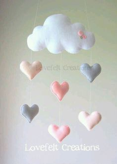 Baby mobile Heart mobile cloud mobile by LoveFeltXoXo on Etsy(Baby Diy Projects) Cool Baby, Baby Love, Baby Crafts, Felt Crafts, Diy And Crafts, Cloud Mobile, Felt Mobile, Mobile Mobile, Sewing Crafts