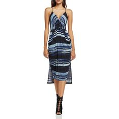 BCBGeneration Stripe Faux-Wrap Dress (30.580 CRC) ❤ liked on Polyvore featuring dresses, black combo, striped jersey dress, pleated midi dress, faux wrap dress, striped dress and midi dress