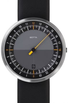 UNO 24 Black Dial Leather by Botta Design #men #watches