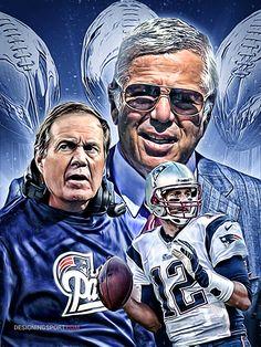 Robert Kraft, Bill Belichick, Tom Brady (New England Patriots) — 3X Super Bowl Champs by Matthew Sharpe
