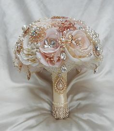 "Custom Blush Pink and ivory Mix Rose Gold and Gold Bridal Brooch Jeweled Bouquet - $600.00 This is a stunning Custom made to Order 9"" (27"" in circumference, 12"""