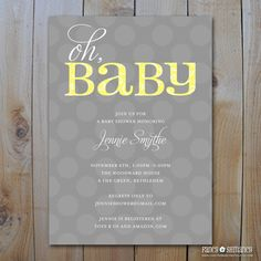Oh BaBy Yellow and Grey Baby Shower by FancyShmancyNotes on Etsy
