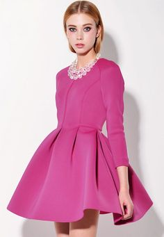 50a649068f7 Buy Rose Red Round Neck Three Quarter Length Sleeve Flare Hem Dress from  abaday.com