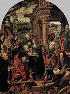 kutxx:  Joos van Cleve -Adoration of the Magi -1526-28,  oil on oak panel,Gemäldegalerie, Dresden