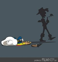Lucky Luke's shadow finally caught up with him - Pandaluna Lucky Luke, Ligne Claire, Funny Illustration, Cheer Up, Amazing Adventures, Disney Love, Funny Comics, Character Design, Funny Pictures