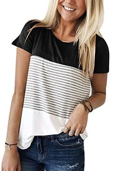 3308ad9a72a30 YunJey Short Sleeve Round Neck Triple Color Block Stripe T-Shirt Casual  Blouse