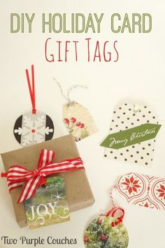 DIY Holiday Card Gift Tags. Save those Christmas cards to make your own gift tags! Super simple crafts idea. via www.twopurplecouches.com