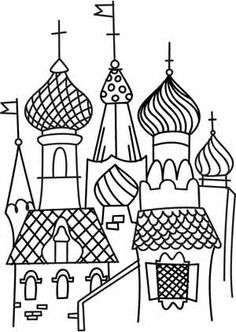 How to draw the kremlin moscow kremlin saint basil for Cathedral coloring pages