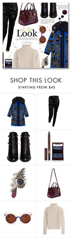 """Get the Look"" by dressedbyrose ❤ liked on Polyvore featuring Andrew Gn, Givenchy, Valentino, Charlotte Tilbury, Ileana Makri, Louis Vuitton, Alexander McQueen, Fendi and Topshop"