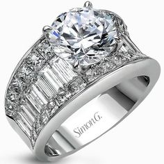 "Simon G 18K White Gold Large Center ""Simon Set"" Diamond Baguette Engagement Ring with 1.87 Carats Princess Cut & 1.67 Carats Baguette Cut Diamonds. Style MR1922"