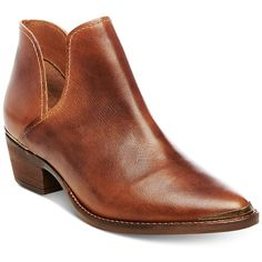 Steve Madden Women's Tempee Block-Heel Booties ($109) ❤ liked on Polyvore featuring shoes, boots, ankle booties, cognac leather, cognac booties, leather cut out booties, leather ankle booties, cut-out booties and metallic boots