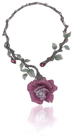 Wendy Yue Rapacious Rose Necklace in white gold with rubies, pink sapphires, tourmalines, black and white diamonds, white sapphires and tsavorite garnets.