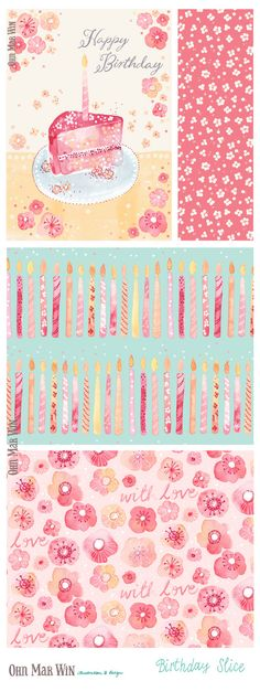 EVERYDAY designs — Ohn Mar Win Illustration Birthday cake card candles floral pattern