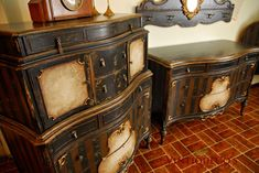 Antique Steampunk 3P Shabby Distressed Painted Bedroom Suite Chic Dressers Bed | eBay