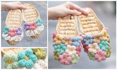 Cro crochet, Crochet flower slippers Mollie flowers photo... tutorial link