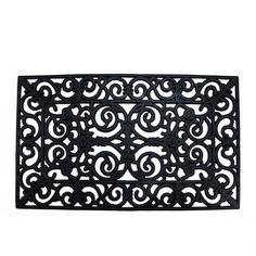"""Decorative Black Outdoor Rubber Rectangular Door Mat 29.5"""" x 17.75"""""""