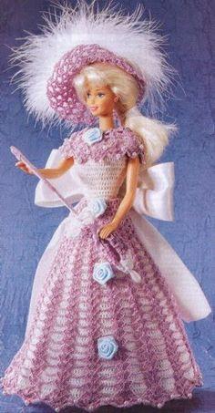 Crochet para Ti: Barbie Crochet - Vestido Blanco y Obispo (Pompadur)