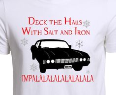 Supernatural Christmas shirt - Dean Winchester - Sam Winchester - Castiel - Crowley - Deck the halls - Supernatural Holiday shirt by MyVinylVariations on Etsy https://www.etsy.com/listing/490296743/supernatural-christmas-shirt-dean