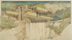 Frank Lloyd Wright, Fallingwater (Edgar J. Kaufmann House), Mill Run, Pennsylvania, 1935, Color pencil on tracing paper, 15-3/8 x 27-1/4 inches, © The Frank Lloyd Wright Foundation