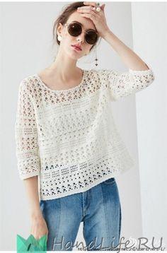 Ажурный пуловер крючком / Вязание крючком