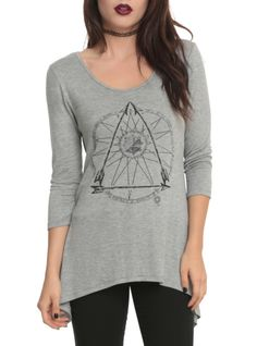 Grey top with an abstract graphic design.