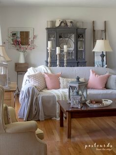 Blush and Bashful - spring accents in the living room