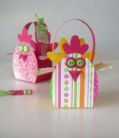 Chick Basket, holds a small Easter or decorated egg. Download pdf pattern, gift bag, basket. Chicken, paper craft kit.
