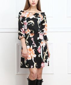 Look what I found on #zulily! Black & Pink Floral Off-Shoulder Dress by Reborn Collection #zulilyfinds