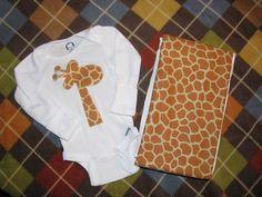 Baby Onesie and Burp Cloth Set  Gerry Giraffe  by LilLaineyBug, $18.00