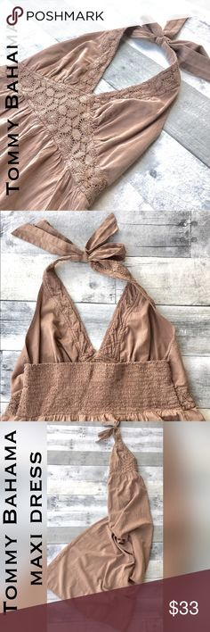 RESORT-Halter style with crochet/macrame at bodice Simple elegance and ease are the hallmark of Tommy Bahama lifestyle.  Gorgeous maxi dress shows off your shoulders and fits comfortably at the torso, then floats to the floor. Tommy Bahama Dresses Maxi