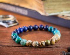 8mm - vibes plage - bracelet élastique en perles, bracelet d'yoga, bracelet homme, bracelet pour femmes, bracelet en pierres précieuses de la pierre bleu, vert et marron