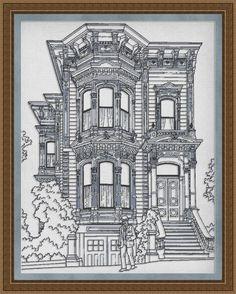 Counted Cross Stitch Pattern Old House Monochrome Vintage Nostalgic - INSTANT DOWNLOAD PDF - StitchX. $2.95, via Etsy.