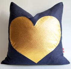 LOVE this Sukan / Navy blue and gold pillow by sukan, $35.60 (found via Oh, Joy!)