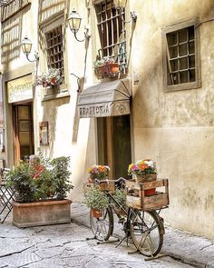 Visit a beautiful trattoria in Florence!!! #theworkshopshoes #trattoria #Florence #Italy #italia #romance #bucketlist #inspo #inspiration #beautiful #bicycle #love #beromantic