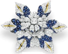 A DIAMOND AND SAPPHIRE BROOCH, BY JEAN SCHLUMBERGER, TIFFANY & CO.  circa 1965.   Formerly owned by Elizabeth Taylor. Christie's.