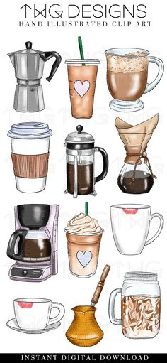 Discover recipes, home ideas, style inspiration and other ideas to try. Coffee Drawing, Coffee Art, Iced Coffee, Coffee Illustration, Digital Illustration, Journal Stickers, Planner Stickers, Aesthetic Stickers, Cute Stickers