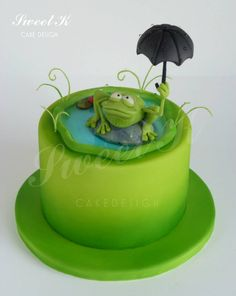 Sweet K Cake Design Pretty Cakes, Beautiful Cakes, Amazing Cakes, Cupcakes, Cupcake Cakes, Frog Food, Frog Cakes, Girly Cakes, Funny Cake
