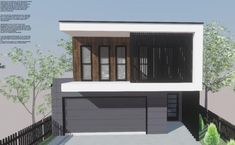 An impressive modern style narrow lot design that makes the most of the available space. With an open plan kitchen/living area along with a. Breezeway, Build Your Dream Home, Open Plan Kitchen, Kitchen Living, Modern House Design, Brisbane, Custom Homes, Living Area, Facade