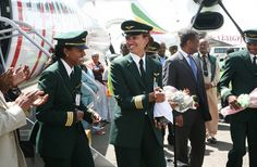Captain Amsale Gualu Endegnanew (right) who made history by becoming the first female captain at Ethiopian Airlines.