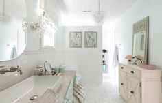 What I would have given to have this bathroom as a teenager! (And now, quite frankly!) The beautiful space belongs to the lucky 16-year-old daughter of interior designer Bobbi Jo Engelby of Domain Int